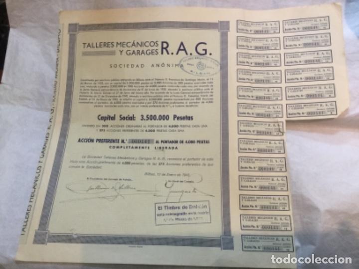 Coleccionismo Acciones Españolas: 2 ACCIONES -TALLERES MECANICOS Y GARAGES R.A.G. - BILBAO 1930 y 1943 - 38x31 y 38x33cm - Foto 3 - 184086235