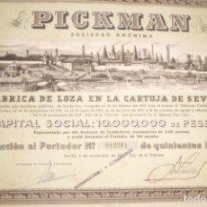 Coleccionismo Acciones Españolas: PRECIOSA ACCION DE LA CARTUJA DE PICKMAN, AÑO TRIUNFAL-1.939. Lote 184146497