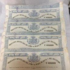 Coleccionismo Acciones Españolas: 4 OBLIGACIONES DEL DUQUE DE OSUNA Y DEL INFANTADO - CORRELATIVAS - 1881 - CON CUPONES - 35X35CM. Lote 184345291