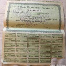 Coleccionismo Acciones Españolas: INMOBILIARIA CONSTRUCTORA VIZCAINA S.A. (INCOVISA) - CON CUPONES - 1946 - 36X32,5. Lote 184766060