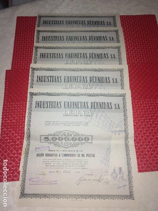 INDUSTRIAS HARINERAS REUNIDAS, S. A. - I.H.R.S.A. - MADRID - LOTE DE 5 ACCIONES - 29 ABRIL 1950 (Coleccionismo - Acciones Españolas)