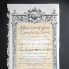 Colecionismo Ações Espanholas: AÑO 1956. ACCIÓN COMPAÑÍA TELEFÓNICA NACIONAL DE ESPAÑA. MADRID. CON CUPONES.. Lote 239445320