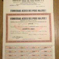Coleccionismo Acciones Españolas: FUNICULAR AÉREO DEL PUIG MAJOR, ACCIÓN 500 PESETAS 1935. Lote 187201433