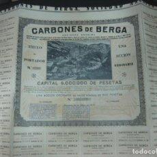 Coleccionismo Acciones Españolas: ACCION CARBONES DE BERGA SOCIEDAD ANONIMA CON CUPONES. BARCELONA 12 DE MAYO DE 1930.. Lote 188718931