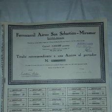 Coleccionismo Acciones Españolas: ANTIGUA ACCIÓN FERROCARRIL AÉREO SAN SEBASTIÁN MIRAMAR Nº 0001650 AÑO 1929. Lote 188737332