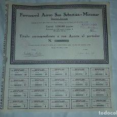Coleccionismo Acciones Españolas: ANTIGUA ACCIÓN FERROCARRIL AÉREO SAN SEBASTIÁN MIRAMAR Nº 0001653 AÑO 1929. Lote 188737670