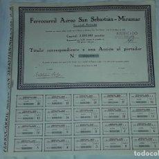 Collezionismo Azioni Spagnole: ANTIGUA ACCIÓN FERROCARRIL AÉREO SAN SEBASTIÁN MIRAMAR Nº 0001658 AÑO 1929. Lote 188737816