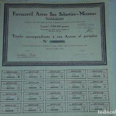 Coleccionismo Acciones Españolas: ANTIGUA ACCIÓN FERROCARRIL AÉREO SAN SEBASTIÁN MIRAMAR Nº 0001628 AÑO 1929. Lote 188738148