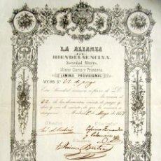 Coleccionismo Acciones Españolas: AÑO 1857. ACCIÓN MINAS LA ALIANZA DE HIENDELAENCINA SOCIEDAD MINERA. CIERTA Y PRINCESA. GUADALAJARA.. Lote 110292031