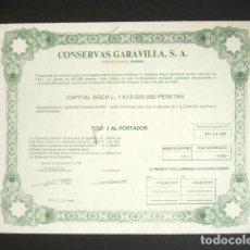 Coleccionismo Acciones Españolas: ACCIÓN CONSERVAS GARAVILLA S.A. BERMEO, 1987.. Lote 189928638