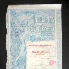 Coleccionismo Acciones Españolas: ACCIÓN INDUSTRIAS DEL CUERO ARMADO. BARCELONA, AÑO 1904. . Lote 189929157