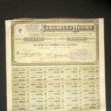 Coleccionismo Acciones Españolas: ACCIÓN SABADELL Y HENRY. BARCELONA, AÑO 1913. PRIMERA SERIE. COLOR VERDE. . Lote 189929518