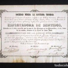 Coleccionismo Acciones Españolas: AÑO 1874. ACCIÓN MINERA LA SANTÍSIMA TRINIDAD, MINA EXPLORADORA DE SENTIDOS. VILLA DE CORRENUEVA.. Lote 189934145