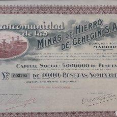 Coleccionismo Acciones Españolas: MANCOMUNIDAD DE LAS MINAS DE HIERRO DE CEHEGÍN (MURCIA) 1926. Lote 190005317