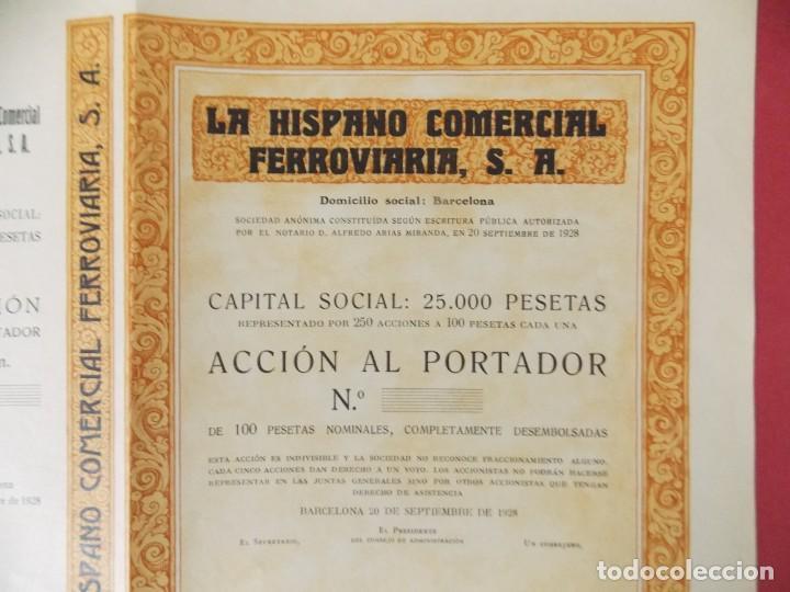 Coleccionismo Acciones Españolas: ACCION - LA HISPANO COMERCIAL FERROVIARIA , S.A - AÑO 1928 - BARCELONA .. L501 - Foto 2 - 190016941