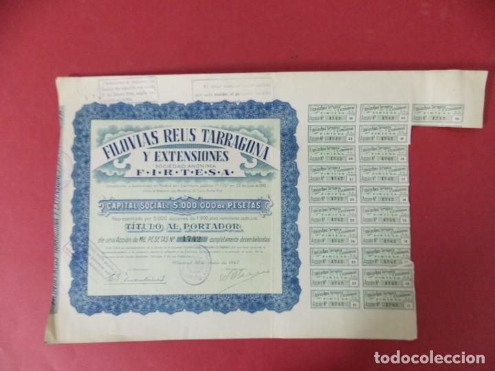 Coleccionismo Acciones Españolas: ACCION - FILOVIAS REUS TARRAGONA Y EXTENSIONES - FIRTESA - AÑO 1947 - .. L503 - Foto 2 - 190018668