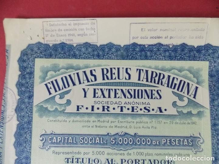 Coleccionismo Acciones Españolas: ACCION - FILOVIAS REUS TARRAGONA Y EXTENSIONES - FIRTESA - AÑO 1947 - .. L503 - Foto 3 - 190018668