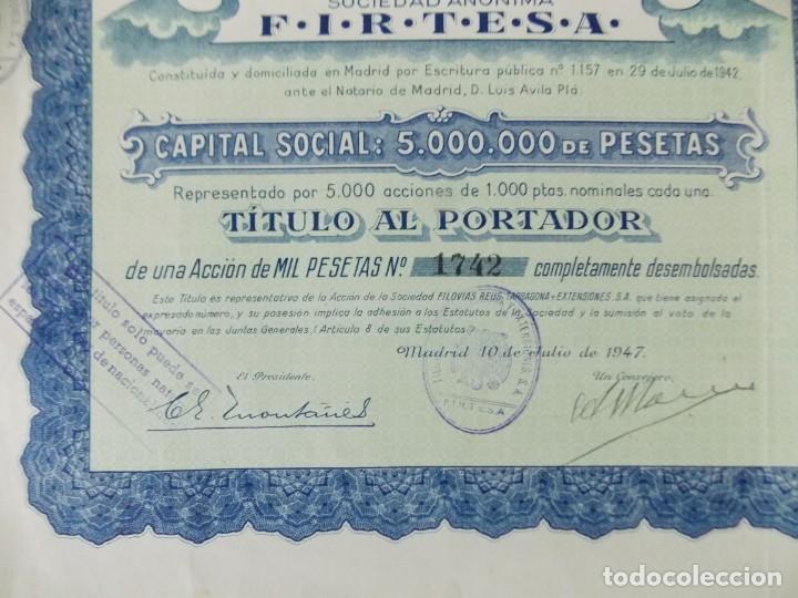Coleccionismo Acciones Españolas: ACCION - FILOVIAS REUS TARRAGONA Y EXTENSIONES - FIRTESA - AÑO 1947 - .. L503 - Foto 4 - 190018668