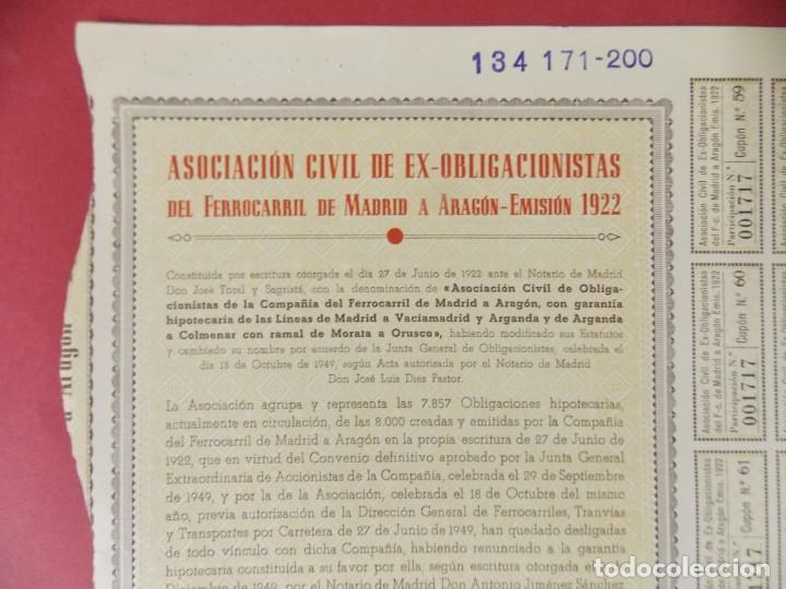 ACCION ASOCIACION CIVIL EX OBLIGACIONES FERROCARRIL DE MADRID A ARAGON EMISION 1922/1950 .. L505 (Coleccionismo - Acciones Españolas)