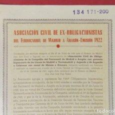 Coleccionismo Acciones Españolas: ACCION ASOCIACION CIVIL EX OBLIGACIONES FERROCARRIL DE MADRID A ARAGON EMISION 1922/1950 .. L505. Lote 190020866