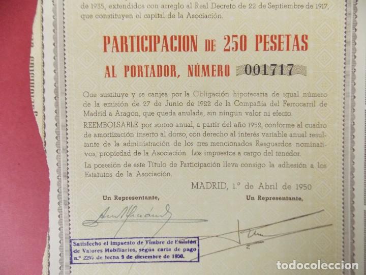 Coleccionismo Acciones Españolas: ACCION ASOCIACION CIVIL EX OBLIGACIONES FERROCARRIL DE MADRID A ARAGON EMISION 1922/1950 .. L505 - Foto 2 - 190020866