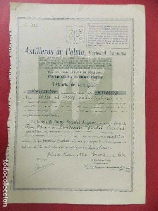ACCION - ASTILLEROS DE LA PALMA - PALMA DE MALLORCA - 17 ENERO 1956 - .. L506 (Coleccionismo - Acciones Españolas)