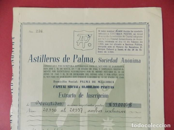 Coleccionismo Acciones Españolas: ACCION - ASTILLEROS DE LA PALMA - PALMA DE MALLORCA - 17 ENERO 1956 - .. L506 - Foto 2 - 190021338