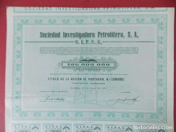 Coleccionismo Acciones Españolas: ACCION - SOCIEDAD INVESTIGADORA PETROLIFERA - SIPSA - MADRID - AÑO 1971 .. L510 - Foto 2 - 190024528