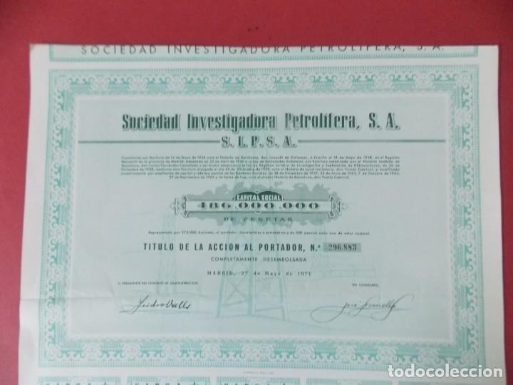 Coleccionismo Acciones Españolas: ACCION - SOCIEDAD INVESTIGADORA PETROLIFERA - SIPSA - MADRID - AÑO 1971 .. L510 - Foto 3 - 190024528
