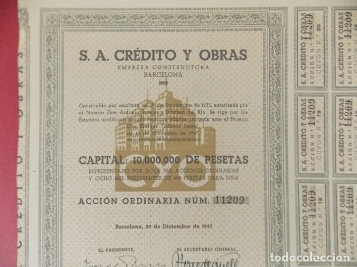 Coleccionismo Acciones Españolas: ACCION - S.A CREDITO Y OBRAS , EMPRESA CONSTRUCTORA - BARCELONA - AÑO 1947 .. L512 - Foto 2 - 190024906