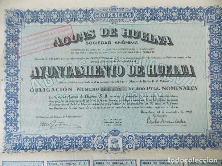 ACCION - AGUAS DE HUELVA - AYUNTAMIENTO DE HUELVA - BARCELONA , NOVIEMBRE 1925 .. L513 (Coleccionismo - Acciones Españolas)