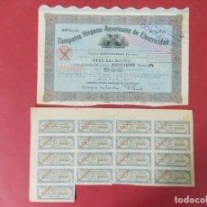Coleccionismo Acciones Españolas: ACCION - COMPAÑIA HISPANO AMERICANA DE ELECTRICIDAD - CON CUPONES - MADRID AÑO 1920 .. L517. Lote 190032038