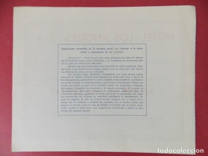 Coleccionismo Acciones Españolas: ACCION DE 1000 PESETAS - HOTEL LOS ANGELES, S.A - MADRID AÑO 1944 .. L518 - Foto 2 - 190032492