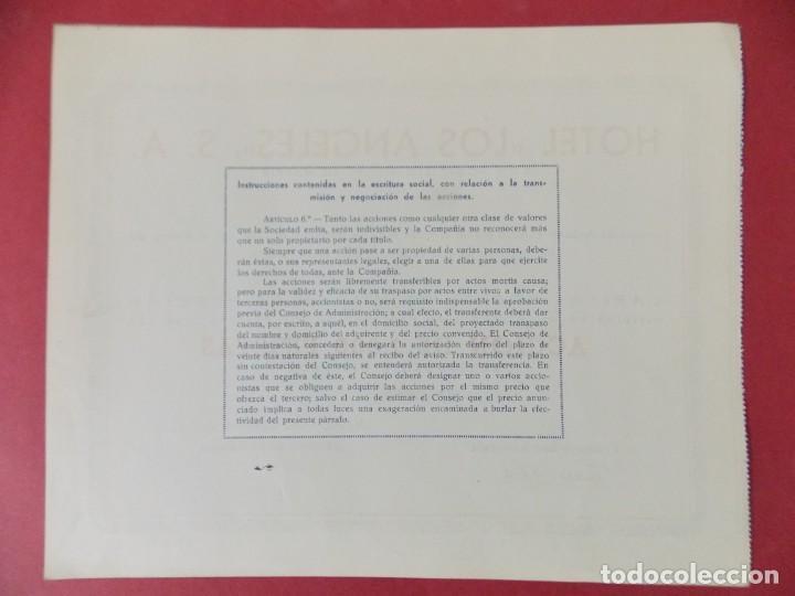 Coleccionismo Acciones Españolas: ACCION DE 1000 PESETAS - HOTEL LOS ANGELES, S.A - MADRID AÑO 1944 .. L519 - Foto 2 - 190032570