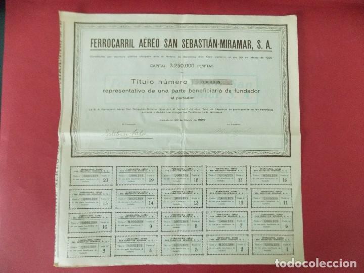ACCION - FERROCARRIL AEREO SAN SEBASTIAN - MIRAMAR - AÑO 1929 - .. L520 (Coleccionismo - Acciones Españolas)