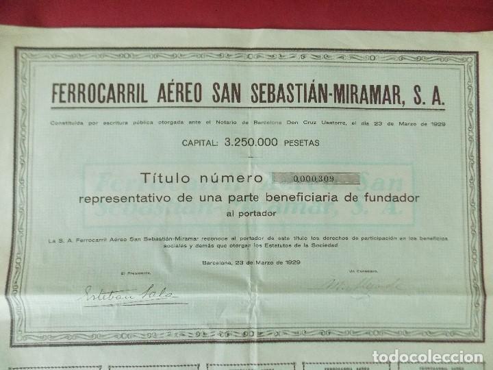 Coleccionismo Acciones Españolas: ACCION - FERROCARRIL AEREO SAN SEBASTIAN - MIRAMAR - AÑO 1929 - .. L520 - Foto 2 - 190063095