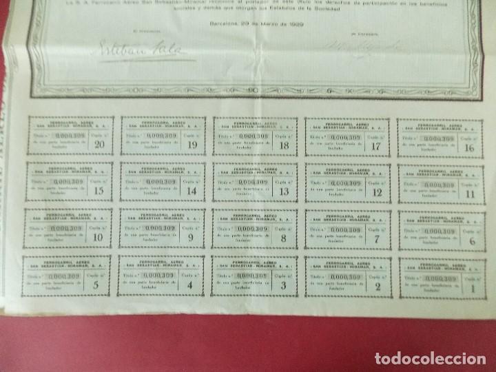 Coleccionismo Acciones Españolas: ACCION - FERROCARRIL AEREO SAN SEBASTIAN - MIRAMAR - AÑO 1929 - .. L520 - Foto 3 - 190063095