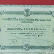 Coleccionismo Acciones Españolas: ACCION COMPAÑIA LERIDANA DE GAS, S.A - 500 PESETAS, LERIDA , LLEIDA - AÑO 1949 - .. L521. Lote 190063490
