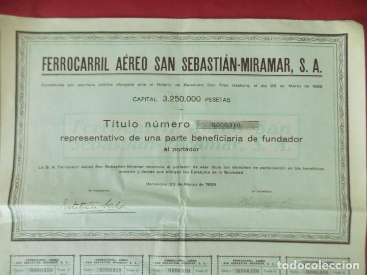 ACCION - FERROCARRIL AEREO SAN SEBASTIAN - MIRAMAR - AÑO 1929 - .. L524 (Coleccionismo - Acciones Españolas)