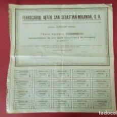 Coleccionismo Acciones Españolas: ACCION - FERROCARRIL AEREO SAN SEBASTIAN - MIRAMAR - AÑO 1929 - .. L525. Lote 190083863