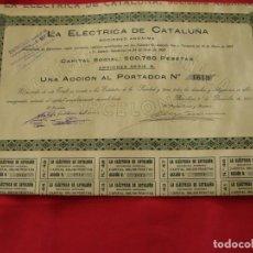 Colecionismo Ações Espanholas: ACCIÓN - LA ELÉCTRICA DE CATALUÑA SOCIEDAD ANÓNIMA - AÑO 1920. Lote 190157810