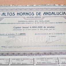 Coleccionismo Acciones Españolas: ACCION ALTOS HORNOS DE ANDALUCIA. MALAGA 1912. Lote 190195653