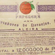 Collectionnisme Actions Espagne: PAPELERA EXPORTADORES DE NARANJAS,S,A,ALCIRA-A FAVOR F.Y M.LLOP AYET,S,R,C,VILLARREAL. Lote 190866197