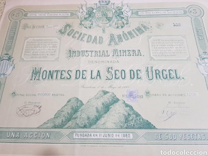 ACCION INDUSTRIAL MINERA MONTES DE LA SEO DE URGEL. LERIDA. BARCELONA 1883 (Coleccionismo - Acciones Españolas)