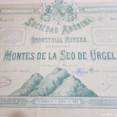 Coleccionismo Acciones Españolas: ACCION INDUSTRIAL MINERA MONTES DE LA SEO DE URGEL. LERIDA. BARCELONA 1883. Lote 191355906