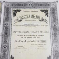 Coleccionismo Acciones Españolas: ACCION ELECTRA MIANOS. NAVARRA. PAMPLONA 1908. Lote 191356157