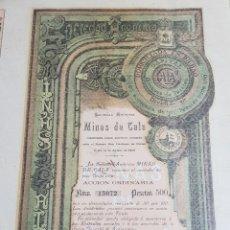 Coleccionismo Acciones Españolas: ACCION MINAS DE CALA. HUELVA. BILBAO 1901. Lote 191356560