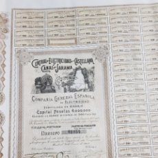Coleccionismo Acciones Españolas: ACCION CENTRAL ELECTRICIDAD DE LA CASTELLANA Y CANAL DEL JARAMA. MADRID 1902. Lote 191362741