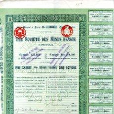 Collezionismo Azioni Spagnole: GIRONA OSOR RARA ACCION THE SOCIETE DES MINES DÓSOR LIMITED PARIS 1899. Lote 191509836