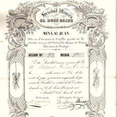 Coleccionismo Acciones Españolas: ACCION SOCIEDAD MINERA EL BUEN DESEO. MINA S. JUAN, BADAJOZ. FECHADA EN MADRID A 27 DE JUNIO DE 1856. Lote 191892741